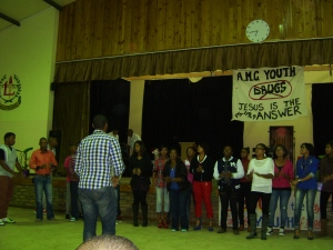 One of the youth choirs singing at the talent show