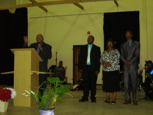 Bishop Joseph thanking some of the pastors and leaders of Robertson