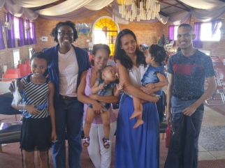 With some of the late Bishop Mokwena's grandchildren and great-grandchildren, and a friend of the granddaughter